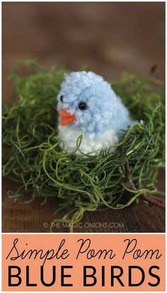 Simple Pom Pom Blue Birds – Learn how to make pom pom pets for Easter. This adorable blue bird tutorial is available at Bird Crafts, Nature Crafts, Craft Stick Crafts, Easy Crafts, Craft Ideas, Unicorn Crafts, Activity Ideas, Preschool Crafts, Yarn Animals