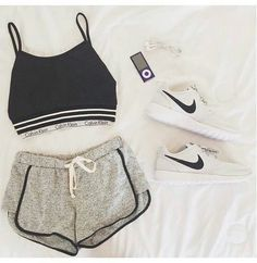 Image via We Heart It https://weheartit.com/entry/174989032 #black #blacktop #bra #CalvinKlein #clothes #combination #fashion #girl #nike #outfit #running #shorts #sport #spring #style #summer #tank #whiteshoes #woman #workout #greypants #sportswear #whitestrips #phoneearrings #mp3pleer #mp4pleer