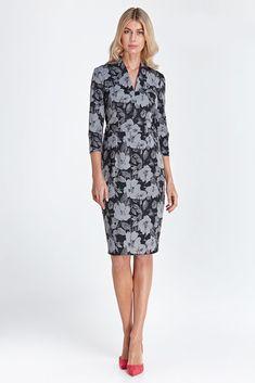 Robe crayon ajustée habillée femme motif floral gris noir fleurie CS01  COLETT 45c289fbd9fa