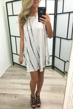 Island Breeze Tie Dye Ivory Tank Dress