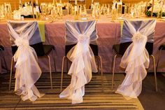 Chair decor for wedding reception- maybe something like this to cover up the chairs...would still be cheaper than $8 a chair...