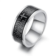 Fashion Hot Brand Men Jewellery Black Classic Spain Bible Cross Titanium Steel Ring Personalized Accessories Man Gift KJ279