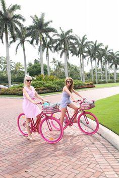 Riding bikes in Palm Beach.