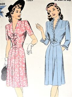 1940s SWING Era Cute Dress Pattern HOLLYWOOD 1327 V Neckline Lace Up or Frilled Bodice Daytime or After 5 Dress Bust 36 Vintage Sewing Pattern