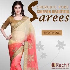 Shop Cherubic Pure Chiffon Beautiful Sarees In Peach ---> www.rachitfashion.com  #fashion #womensfashion #womenswear #shopping #outfit #chiffon