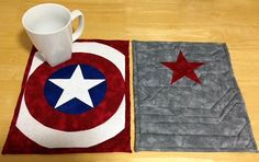 nerdyholler:  I made Captain America and Bucky/Winter Soldier mug rugs/mini quilts this afternoon. Each one is the size of a sheet of paper. I used this as reference for the lines on Bucky's