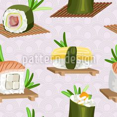 Sushi - Seamless Japanese pattern design with scattered sushi on mats and Japanese boards. Vector Pattern, Pattern Design, Japanese Sushi, Japanese Patterns, Surface Design, Boards, Tasty, Pictures, Planks