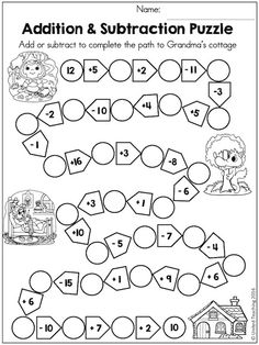 Solve the addition and subtraction puzzle to help Little Red Riding Hood find her way to Grandma's cottage! 2nd Grade Math Worksheets, 1st Grade Math, Math Addition, Addition And Subtraction, Math Games, Preschool Activities, Fairy Tale Activities, Math Sheets, English Lessons For Kids