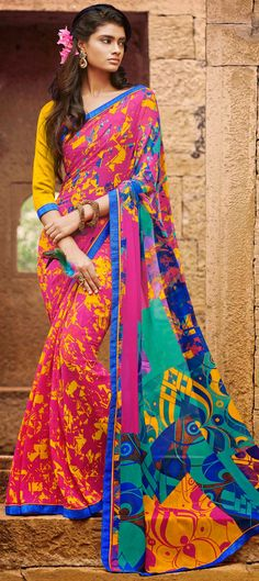 153715: #Abstract Prints - check out this #saree with delicious prints and order it at flat 15% off.  #cupcake #inspiration #partywear #multicolor
