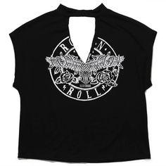 Sadie Sage Rock N Roll Chocker Tee (1.740 RUB) ❤ liked on Polyvore featuring tops, t-shirts, rock roll t shirts, crew-neck tee, crew neck tops, rock and roll tees and graphic design t shirts