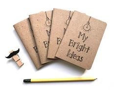 Pocket Notebook - Small Notebook, Stocking Stuffer - Pocket Journal - Blank Pages - My Bright Ideas - Kraft Notebook -Stocking Stuffer Idea Diy Notebook Cover, Small Notebook, Pocket Notebook, Journal Notebook, Journals, Birthday Cards For Boyfriend, Free Adult Coloring Pages, School Notebooks, Study Tips