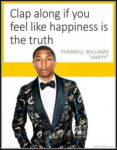 Pharrell Williams - Happy - cool posters by Steve Bates - famous celebrities actors and singers