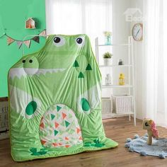 Unique Cartoon Crocodile Shaped Soft Green Quilt