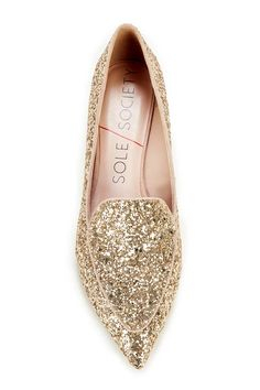 Light Champagne Sparkly Slippers
