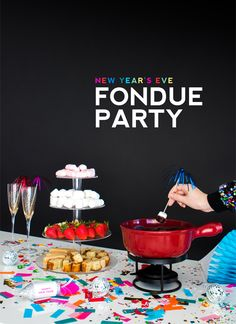 Throw a New Year's Eve Fondue Party with these tips from @jordanferney of Oh Happy Day! Use Lindt CLASSIC RECIPE bars and EXCELLENCE 70% dark chocolate bars for the perfect dip.