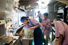 Cooking inside a food truck | Food Containers: http://www.foodservicewarehouse.com/graduated-containers-round/c17875_531-792.aspx?utm_source=social&utm_medium=pinterest&utm_campaign=site