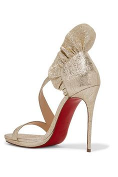 897fbec8b3e7 Christian Louboutin - Colankle 120 Ruffled Metallic Cracked-leather Sandals  - Gold