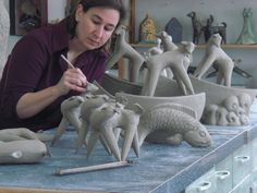 Cathy Broski, Kansas City Clay Guild instructor - Former teacher and I have one of eh dog sculptures. Ceramic Store, Ceramic Clay, Ceramic Pottery, The Potter's Hand, Clay Art, Clay Clay, Ceramic Techniques, Painting Studio, Horse Sculpture