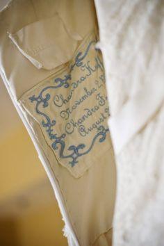 The sweetest something blue. Custom Wedding Dress Label