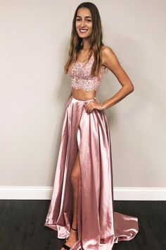 Princess Two Piece Pink Long Prom Dress, 2019 Pink Prom Dress with Side Slit