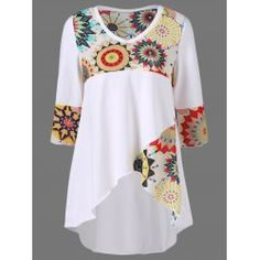 Plus Size Graphic High Low Hem T-Shirt In White   Twinkledeals.com