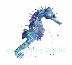 Watercolor seahorse tattoo idea.
