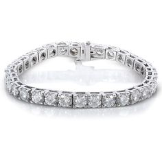 Moissanite Tennis Bracelet 16 1/2 Carat (ctw) in 10k White Gold ($4,020) ❤ liked on Polyvore featuring jewelry, bracelets, tennis bracelet, white gold bangle, bracelet bangle, white gold bracelet and kobelli