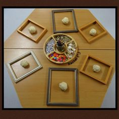 Invitation to create portraits with play dough & loose parts.