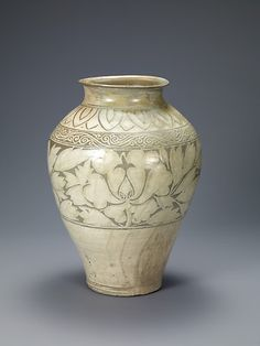 Buncheong Jar with Peony Decoration, Joseon dynasty first half of the 15th century. Samsung Museum of Art, Seoul, Treasure no. 1422