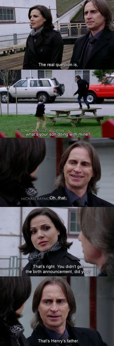 I LOVED this scene. When they came back from New York. Like, hey, yesterday I tried to kill you, but then you killed my mother, and now we're RELATED?! ... I love Regina/Rumple scenes #rumbelle #evilregal #OUAT