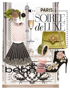 """Soirée de Luxe with bebe Holiday: Contest Entry"" by summerocha ❤ liked on Polyvore featuring Bebe, Ted Baker, Dolce&Gabbana, Rogaska, Bulgari, John-Richard, Rosanna and Style & Co."
