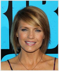 The hottest hairstyles for February 2015 have been shorter layered styles. Kathleen Rose Perkins with her simple layered bob. This hairstyle is another great option for women with fine to medium straight hair. The deep side-swept fringe creates a nice focal point around the eye area, while the layered ends sculpt this 'do into a smooth shape. This is the ideal short haircut for a square or oblong face shape.