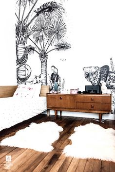 Amazing black and white mural in kids room