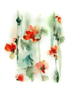 Watercolor Painting Art Print - Abstarct - Flowers - Red Green - Nature - Modern - Walll Art #etsymntt #painting