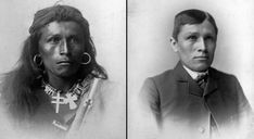 "Assimilation. The dominant group tried to oppress Aboriginal culture and integrate them into ""civilized society"" (class notes, 2018, ch. 5). Photo:  Tom Torlino before and after residential school. (n.d.). Retrieved from http://justonereason.net/killing-the-indian-in-the-child/"