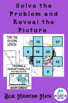 Are you looking for an interactive and self-correcting resource to practice finding the lengths of triangle sides using triangle proportionality theorems with your students? There are 2 different pictures with 16 problems for each picture. Students start with the picture totally covered by the answer boxes. As they answer each question correctly, more and more of the covered picture is revealed.