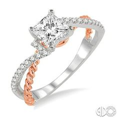 3/4 Ctw Diamond Engagement Ring with 1/2 Ct Princess Cut Center Stone in 14K White and Pink Gold