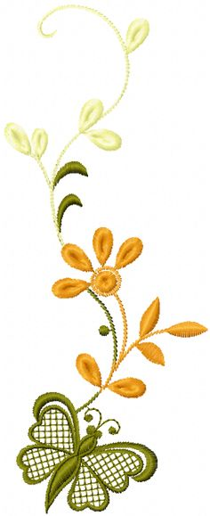 Free flowers and butterfly machine embroidery design
