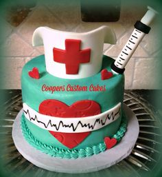 Nurses Cake Buttercream with fondant details. Nursing Graduation Cakes, Nursing Party, Cupcakes, Cupcake Cakes, Zoe Cake, Medical Cake, Doctor Cake, Bolo Floral, School Cake