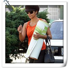 #TBT to the time we spotted Halle Berry toting around her #Yogamatic yoga mat! (Order one for yourself during our Labor Day sale and get 20% off with the code laborday20!) #halleberry #yoga #yogalife