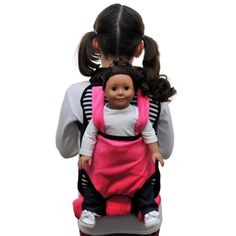 Pink, Black & White Childs Backpack Doll Carrier & Sleeping Bag Clothes & Accessory Storage for 18 inch Dolls