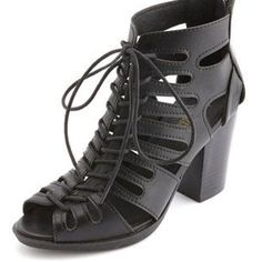 faf6a7c3d3fd Cut-Out Lace-Up Gladiator Heels Mid Heel Sandals