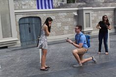 This scavenger hunt proposal in front of Cinderella's Castle at Disneyworld is so sweet!