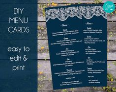 """Lace Printable Menu Templates 