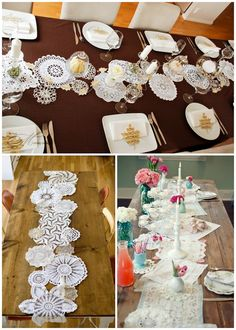 Vintage doilies table runner- USE PAPER DOILIES, PAINT THEM RED? NICE OVER WHITE TABLECLOTH