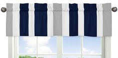 Navy Blue Gray and White Window Treatment Valance for Stripes Bedding Collection -- Check this awesome product by going to the link at the image. Note:It is Affiliate Link to Amazon.