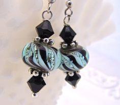 Sterling silver lampwork glass earrings handmade by FlyingHeartStudios.