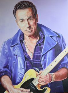 "Springsteen ""The Boss"" Oil on canvas size 1016mm x 762mm For Sale £1440"