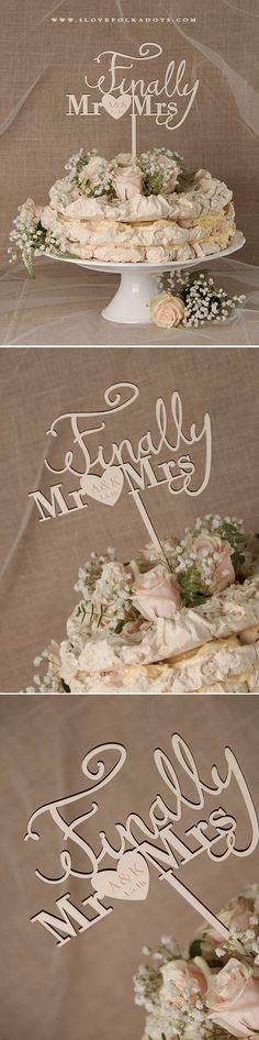 Finally Mr & Mrs Wedding Wooden Cake Topper #summerwedding #realwood
