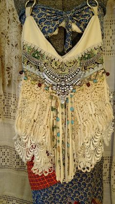 Handmade Cream Leather Vintage Lace Shoulder Bag Boho Hobo Hippie Purse tmyers…